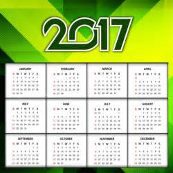 2017 year color new year 2017 elegant calendar in green color vector