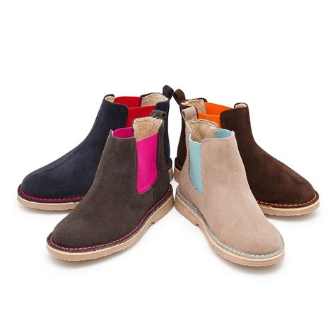 suede chelsea boots with coloured elastic for