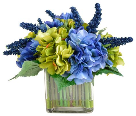 Artificial Flower Displays In Vases by Hydrangea Arrangement In Square Vase