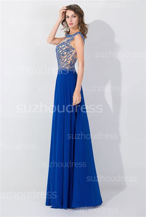 Blue Elegant Crystal Floor Length Evening Dresses 2017 Popular Zipper Fashional Party Gowns