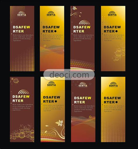8 x banner stand design template vector pattern brown