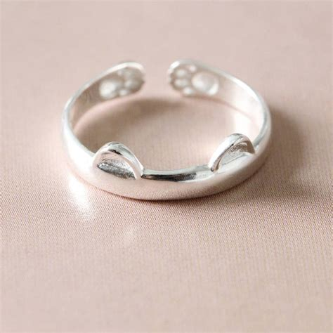 silver cat ring by attic notonthehighstreet