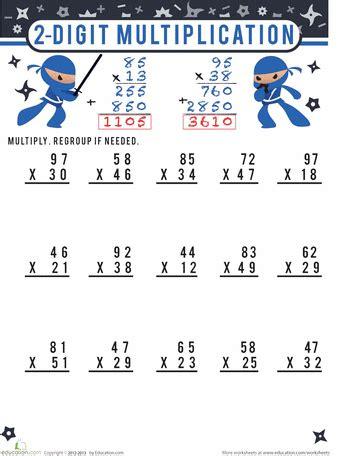 printable worksheets 2 digit multiplication two digit multiplication for 4th grade education com