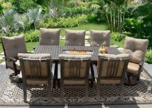 Patio Dining Table Set For 8 Barbados Cushion 42x84 Rectangle Outdoor Patio 9pc Dining