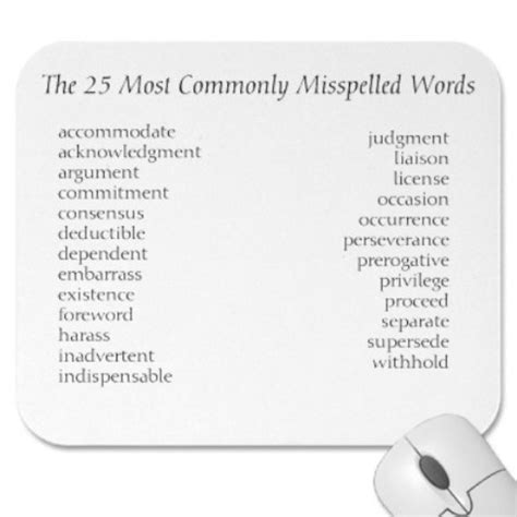 misspelled words top 50 most misspelled words myideasbedroom com