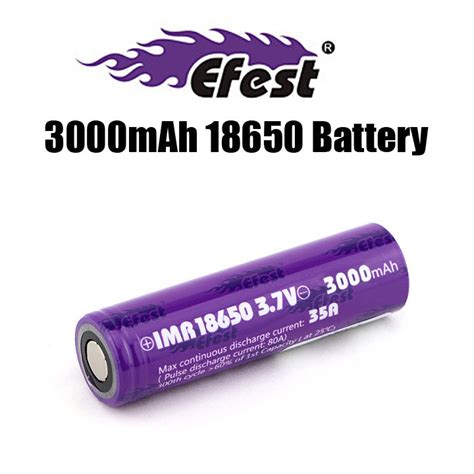 Efest Purple 18650 Li Mn Battery 3000mah 3 7v 35a Flat Top 18650v1 efest 18650 3000mah 35a battery