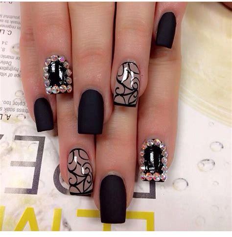 matte black nail designs black matte with design and rhinestones nail design
