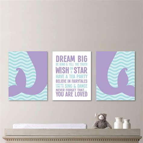 Baby nursery decor dream big you are loved wall sign mermaid baby nursery purple tail on ocean