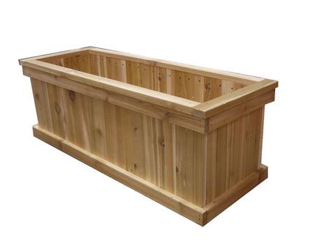 Home Depot Small Wood Box Orosz Outdoors 16 In X 36 In Rectangular Cedar Planter