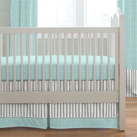 arrow baby bedding gray and aqua arrow stripe 2 piece crib bedding set