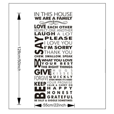 Wall Sticker Bathroom in this house we are a family quote wall art sticker