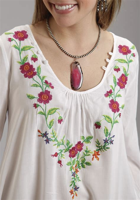 Wst 18768 Embroidered Bell Sleeve stetson 174 white bell sleeve floral embellished