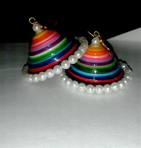 tutorial for quilling jhumkas quilled multicolor jhumka for more visit www facebook com