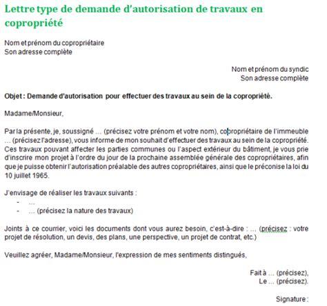 autorisation de si鑒e social demande de travaux en copropri 233 t 233 mod 232 le de lettre et