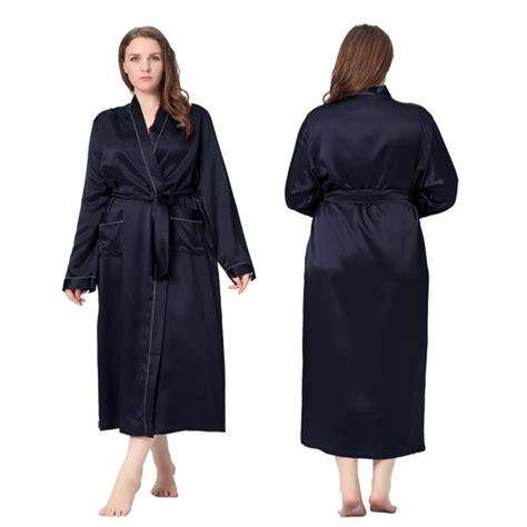 robe de chambre en soie robe de chambre femme longue soie 22 momme liser 233 blanc