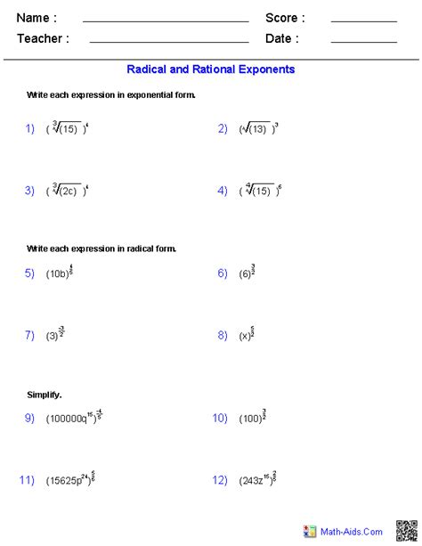 Radical Worksheets by Algebra 2 Worksheets Radical Functions Worksheets