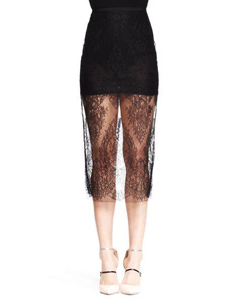 wes gordon sheer lace midi pencil skirt in black lyst