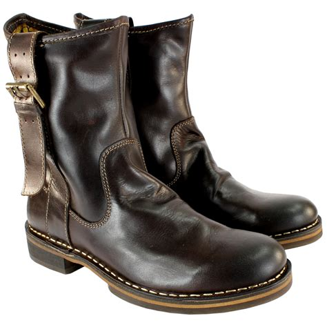leather boots for uk womens fly nota leather pull on mid calf boots