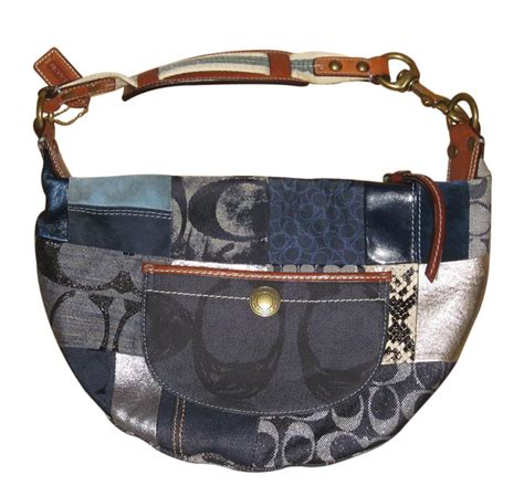 Patchwork Purses - coach fabulous blue denim patchwork hobo shoulder bag