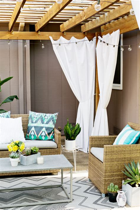 how to make patio curtains make your own outdoor pergola curtains a beautiful mess