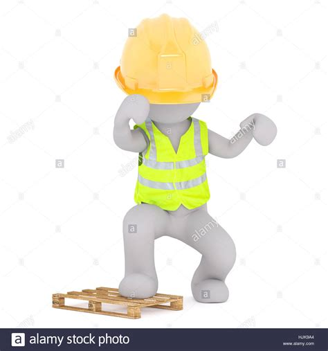 stock illustration of 3d man with safety equipment on figure of faceless 3d man construction worker in hard hat