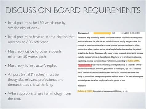 apa format discussion discussion board
