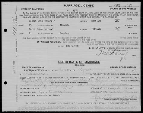 los angeles county wedding permit 2 hainings and related families