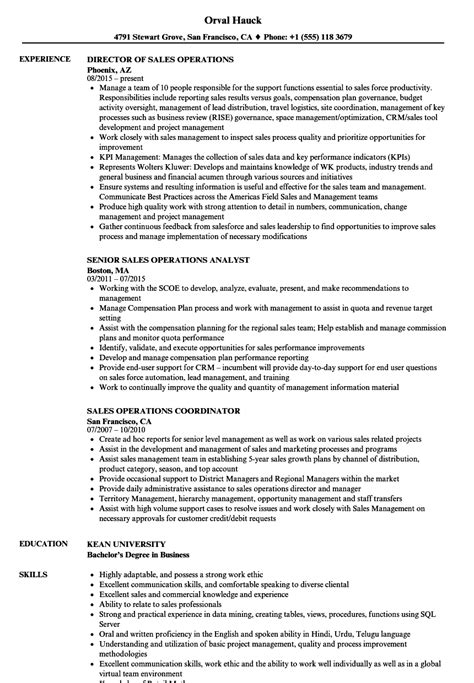 Operations Analyst Resume Exle by Sales Operations Resume Sles Velvet