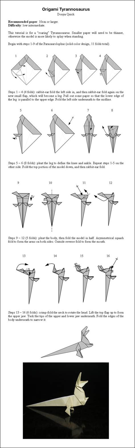 tutorial origami t rex origami t rex instructions by donyaquick on deviantart
