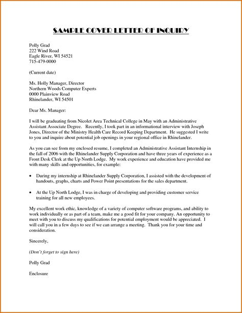 Inquiry Letter Technical Writing 12 How To Write A Letter Of Inquiry Sle Lease Template