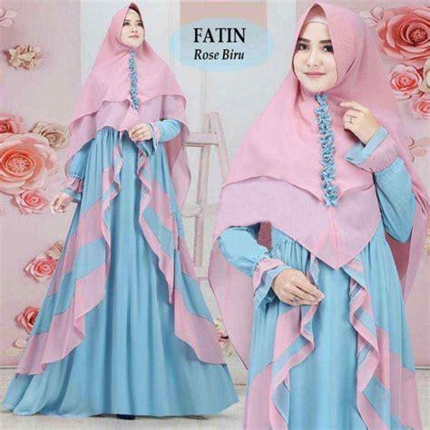 Trend Baju Syari Bergo Jersey Uk L Abu Abu Diskon model gamis 2 warna modern terbaru fatin model gamis terbaru