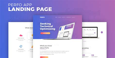 themeforest app landing page perfo professional app landing page by schematheme