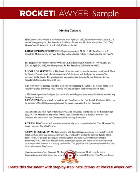 Moving Contract Moving Company Contract Template Form With Sle Relocation Agreement Template