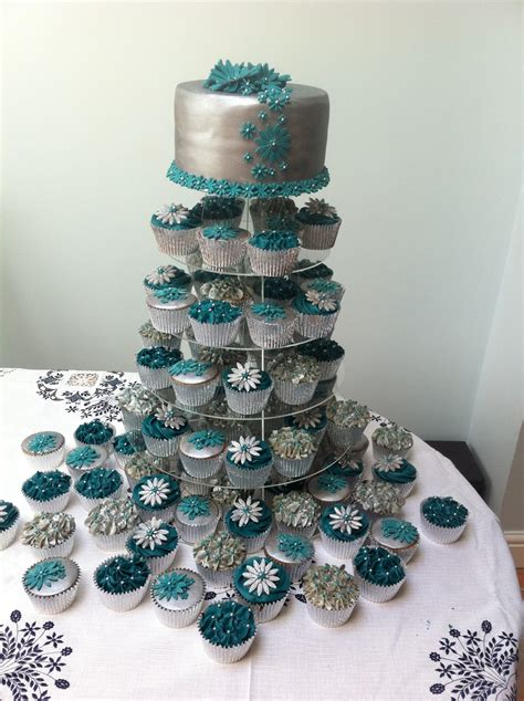 Hochzeit Cupcakes by Teal And Silver Wedding Cake 80 Cupcakes Cakecentral
