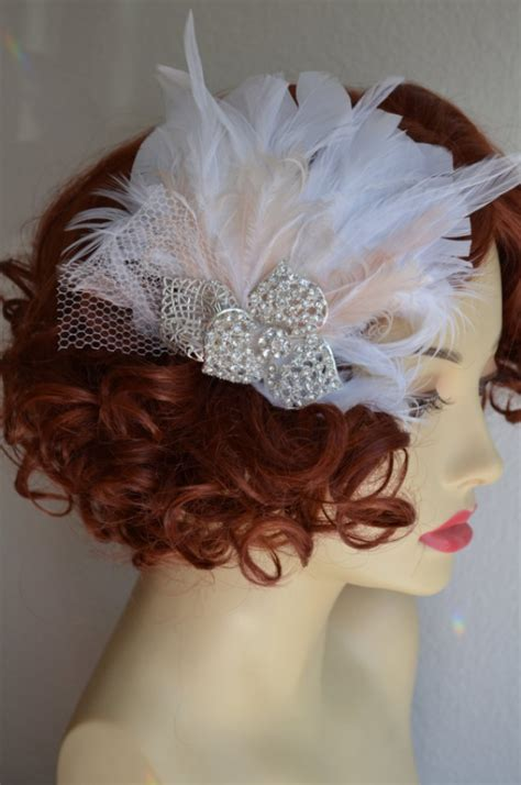 ready to ship blush and white feather fascinator feather