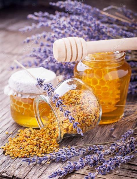 stock fiori artificiali vasetto di miele liquido con lavanda fiori artificiali