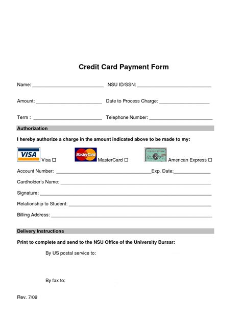 Template Credit Card Authorization Form credit cards with credit score requirements