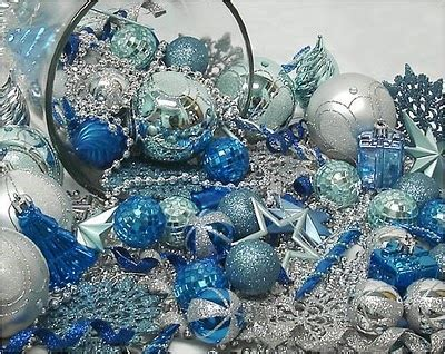 blue and silver tree ornaments