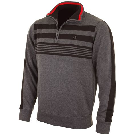 Next Promises New Ranges And Better Clothes by Calvin Klein Half Zip Mens Jumper Zip Sweater