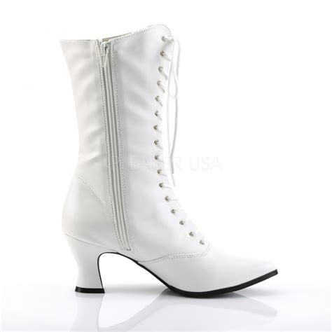 white ankle high boot white steunk boots