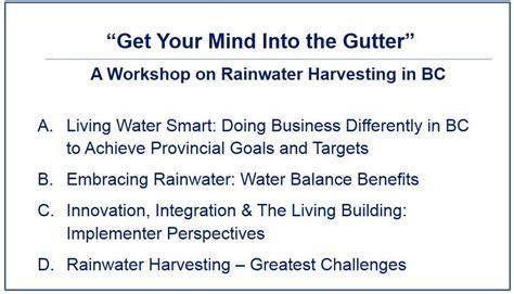 Getting Into Columbia Mba Program by Changes To Bc Plumbing Code Enable Rainwater Harvesting