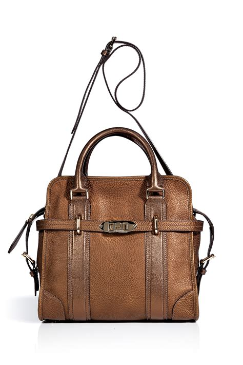 Burberry Gold burberry antique gold leather medium portrait minford tote in brown gold lyst