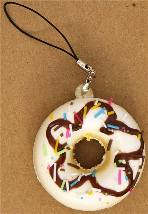 Toys Donuts Whitesugar white donut squishy charm with chocolate sauce food