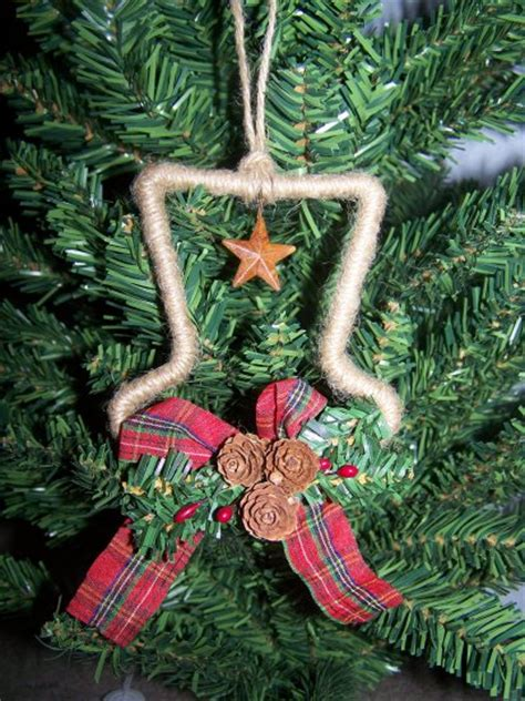 3 country christmas tree ornaments primitive rusty star