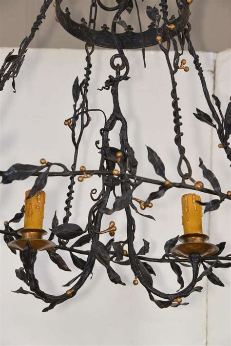 Vine Chandelier Painted Iron Leaf And Vine Chandelier At 1stdibs