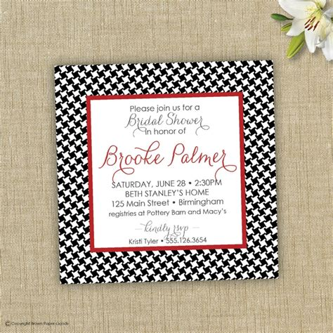 Alabama Wedding Invitations Printed by Bridal Shower Invitation Houndstooth Invitation 15 00