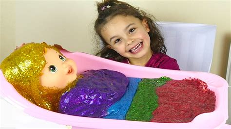 gitter baby glitter slime baby bath and rainbow putty for