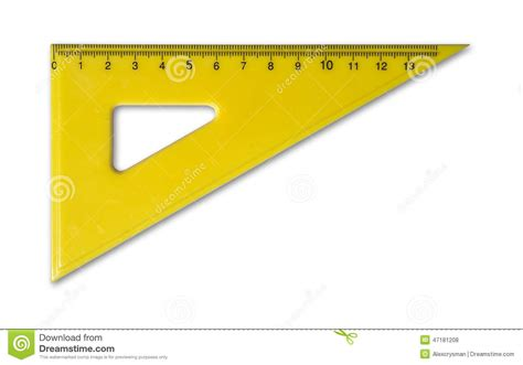 printable geometric ruler yellow ruler for mathematics and geometry in school stock