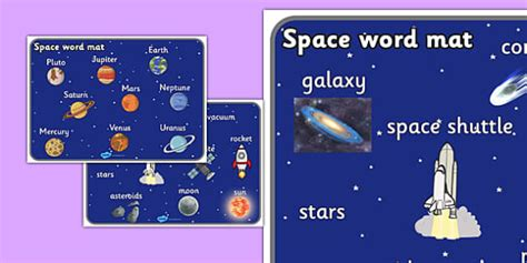 Space Word Mat by Space Word Mat Space Word Mat Writing Aid Topic Words