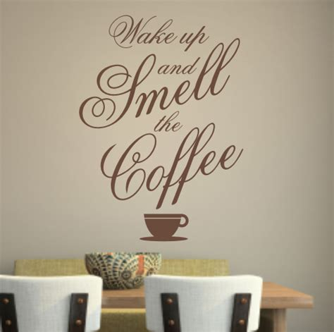 coffee wall stickers up and smell the coffee wall sticker wa214x